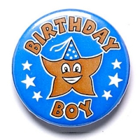 Birthday Boy Button Badge Blue 1 Inch