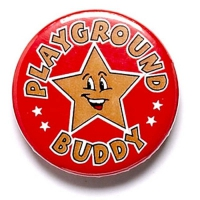 Playground Buddy Button Badge Red 1 Inch