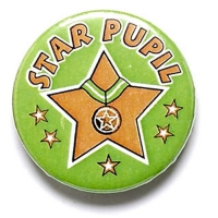 Star Pupil Button Badge Green 1 Inch