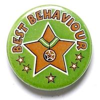 Best Behaviour Button Badge Green 1 Inch