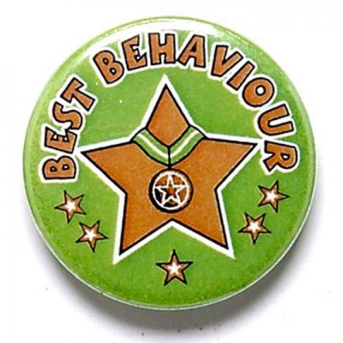 Best Behaviour Button Badge Green 1 Inch