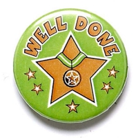 Well Done Button Badge Green 1 Inch