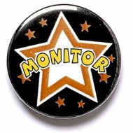 Monitor Button Badge Black 1 Inch