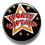 Sports Captain Button Badge Black 1 Inch