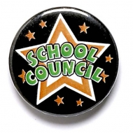 School Council Button Badge Black 1 Inch