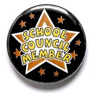 School Council Member Button Badge Black 1 Inch