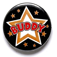 Buddy Button Badge Black 1 Inch