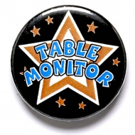 Table Monitor Button Badge Black 1 Inch