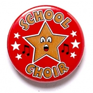 School Choir Button Badge Red 1 Inch