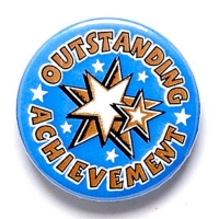 Outstanding Achievement Button Badg Blue 1 Inch