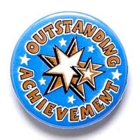 Outstanding Achievement Button Badg Blue 1 Inch