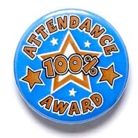 100% Attendance Button Badge Blue 1 Inch