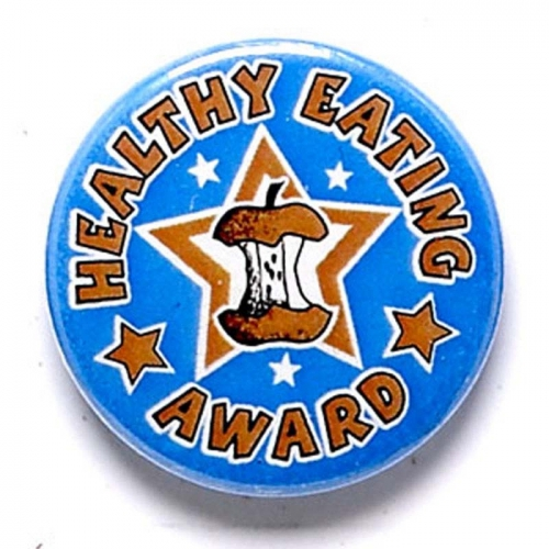 Healthy Eating Button Badge Blue 1 Inch