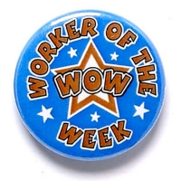 Worker Of The Week Button Badge Blue 1 Inch