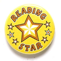 Reading Star Button Badge Yellow 1 Inch