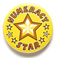 Numeracy Star Button Badge Yellow 1 Inch