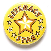 Literacy Star Button Badge Yellow 1 Inch