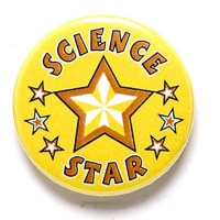 Science Star Button Badge Yellow 1 Inch