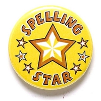 Spelling Star Button Badge Yellow 1 Inch