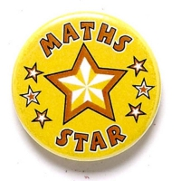 Maths Star Button Badge Yellow 1 Inch