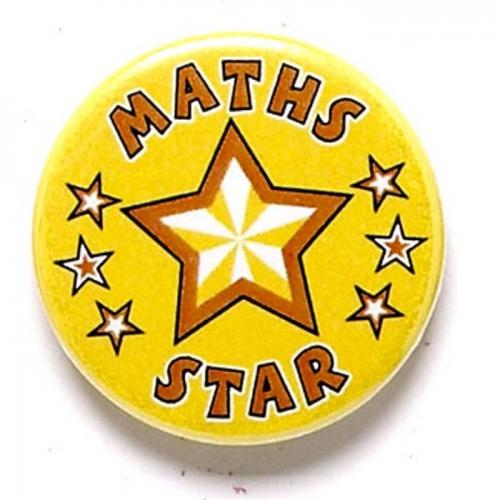 Maths Star Button Badge Yellow 1 Inch