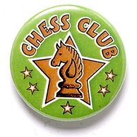Chess Club Button Badge Green 1 Inch