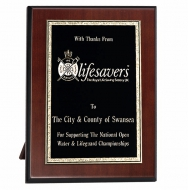 Noble Brass Plaque9 Rosewood/Black/Gold 9 Inch