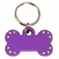 Purple Bone Tag with 12 Stones Purple 35 x 20mm