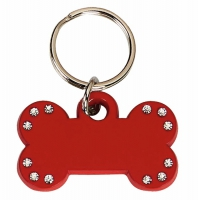 Red Bone Tag with 12 Stones Red 35 x 20mm