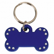 Blue Bone Tag with 12 Stones Blue 35 x 20mm