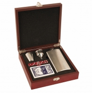 Rosewood Finish Flask Set Rosewood 8.25 x 8.25 x 2 3/8 Inch