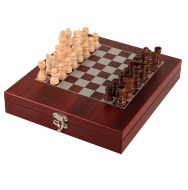 Rosewood Finish Chess Set Rosewood 9 1 / 8 x 10.75 x 1 7 / 8 Inch
