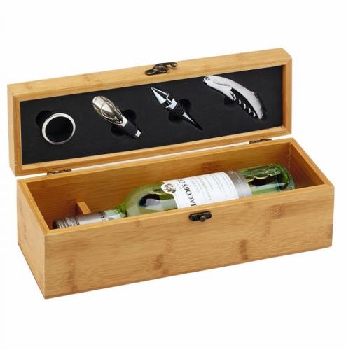 Bamboo Finish Single Wine Set Gift Box 14.25 x 4.5 x 4.75 Inch