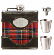 Vision Brown leather & Tartan Flask Stainless Steel 6oz