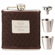 Vision Brown leather wrapped Flask Stainless Steel 6oz