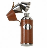 Vision Traveller Flask - Stainless Steel/Brown PU - 6 oz- New 2018