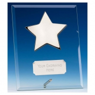 Crest7 Silver Star Jade Plaque Jade/Silver 7 Inch