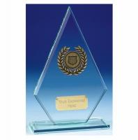 Pointer7 Jade Glass Trophy Jade/Gold 7.5 Inch