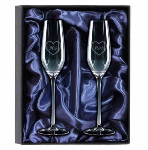2 Champagne Glasses Gift Set