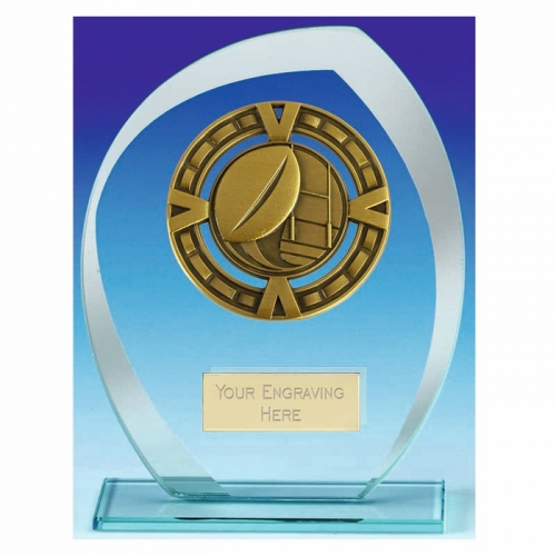Infinity Rugby Trophy Award Glass Trophy - Ant Gold/Clear - 6.5 inch (16.5cm) - New 2018