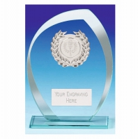 Infinity Glass Trophy - Clear/Silver - 7.25 inch (18.5cm) - New 2018