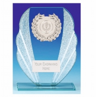 Fanfare Glass Trophy - Clear/Silver - 7.25 inch (18.5cm) - New 2018