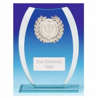 Compass Glass Trophy - Clear/Silver - 6.5 inch (16.5cm) - New 2018
