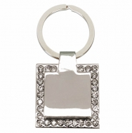 Crown- Diamond Square Key Ring Silver 33 x 33mm
