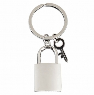 Crown-Padlock Key Ring Silver 40mm H
