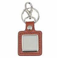 Crown-Leather Key Ring Silver / Brown 38 x 35mm