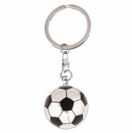 Crown-Football Key Ring Silver/Black 30mm