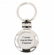 Crown- Round Key Ring Silver 37mm