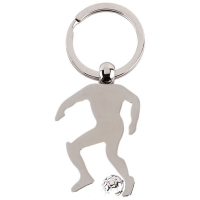 Footballer Keyring Silver 2 x 1.5 Inch