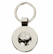 Round Football Keyring Silver 70 x 36mm